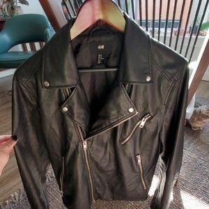 Men's Faux-Leather Biker Jacket